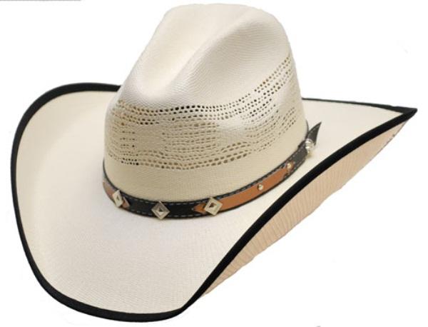 Chapeau de paille naturelle rigide tour de chapeau western bord 233
